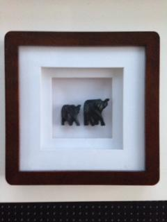 Elephant pair - ebony