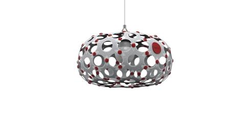 Oval lamp white white red